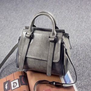 Gray and green women's leather crossbody bag